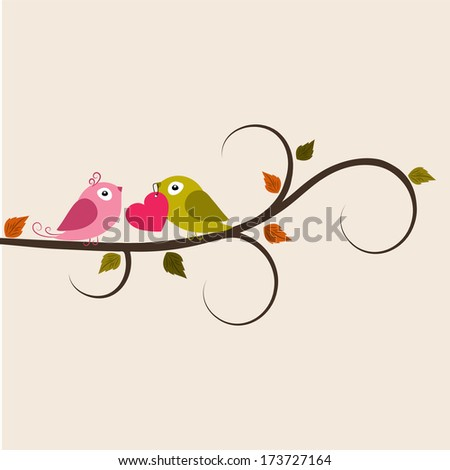Cute love bird sitting on a tree branch on occasion of Valentines Day celebrations, can be use as flyer, banner or poster.  - stock vector
