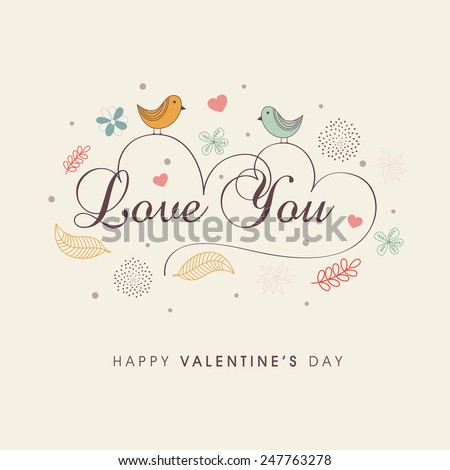Cute love birds couple with text Love You in heart shape for Happy Valentine's Day celebration on decorated background.