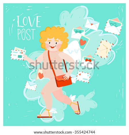 Cute love letters with hearts, marks and stamps/ romantic valentines love card, cupid postman. can be used in card design, postcards, calendars, websites, wallpapers, banners, backgrounds - stock vector