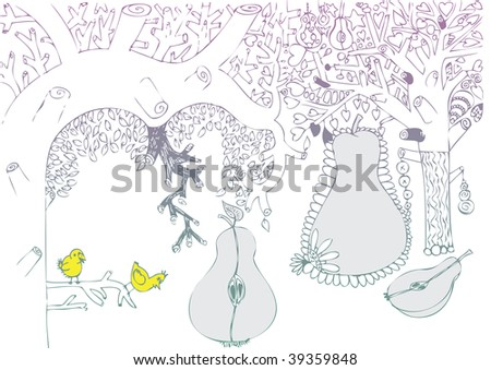 cute love tree doodle - stock vector