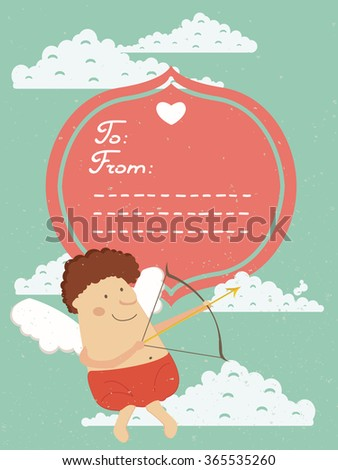 Cute lovely card with Cupid and heart. Perfect for Valantine day.