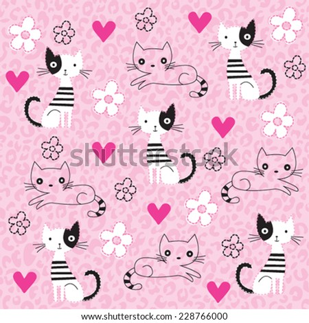 cute lovely cat pattern leopard background vector illustration - stock vector