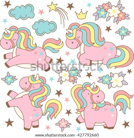 Cute magic collection with kawaii unicorns, stars, clouds,flowers, crown. Set of unicorns and objects in cartoon japanese style isolated on white background. Vector illustration. - stock vector