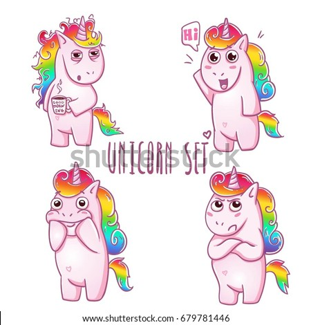 Cute magic collection with unicorn love angry hi hello need more
