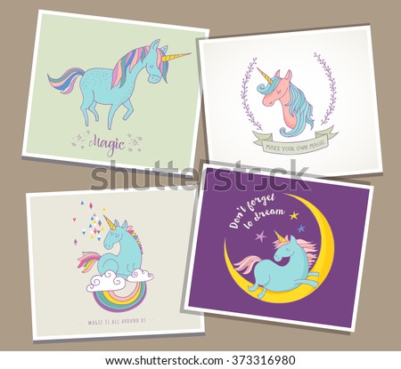 cute magic unicon and rainbow greeting cards