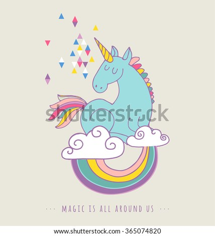 cute magic unicorn and rainbow poster, greeting card - stock vector