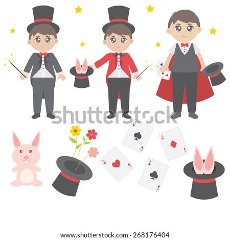 Cute magician vector - stock vector