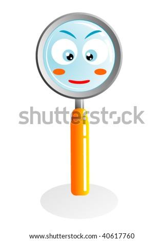 cute magnifying glass cartoon vector - stock vector
