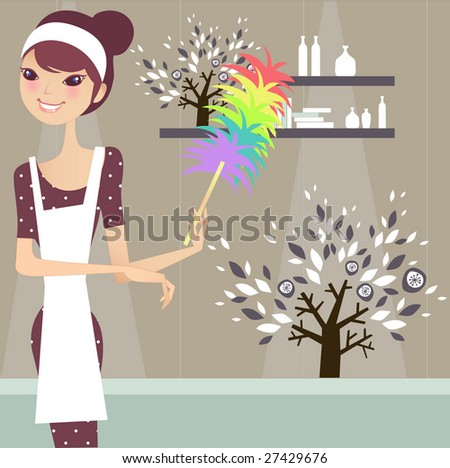 cute maid cleaning the house - stock vector