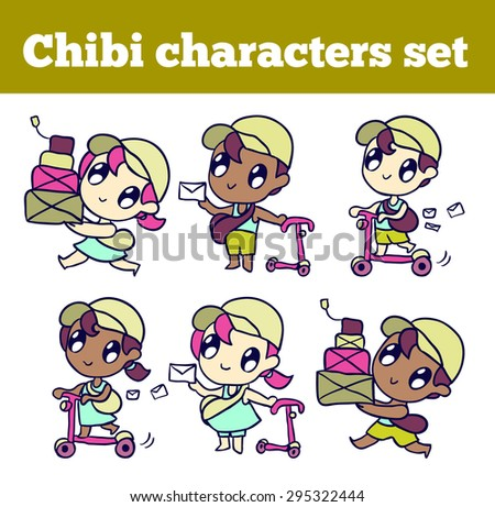 Cute mail delivery. mailman boy and postman girl.  Professional adorable chibi character set. Isolated icons for your design.  - stock vector