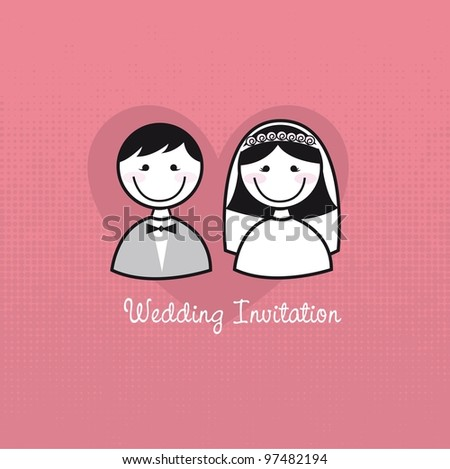 cute man and woman icons, wedding invitation. vector - stock vector