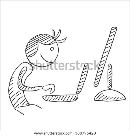 Cute man or businessman working on computer sketch drawing, for  design - stock vector