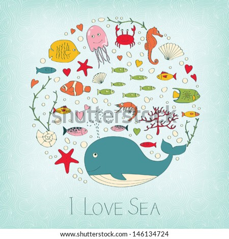 Cute marine life - stock vector