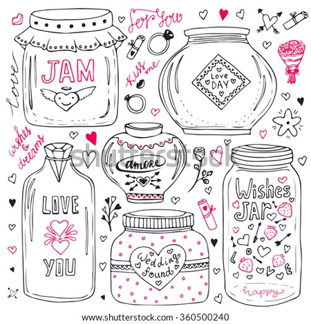 Cute mason jars set. Valentines hand drawn doodle collection. Vector wishes jar with lettering. Love illustration for greeting card or print - stock vector