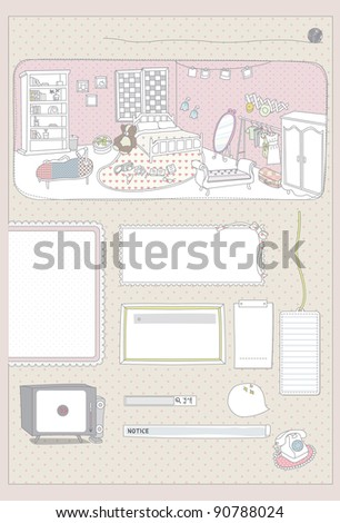 Cute Memo Paper - pink romantic message or memo pad with girl's room : room full of luxury furniture (tv, bed, wardrobe, book & bookshelf, sofa, mirror, table, lamp etc..)