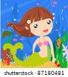 Cute mermaid - stock vector