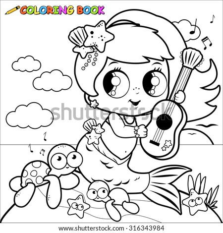Cute mermaid by the sea playing music with her guitar. Coloring book page. - stock vector