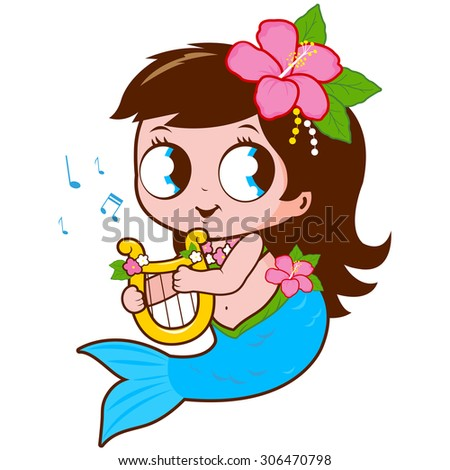 Cute mermaid playing music with her lyre.