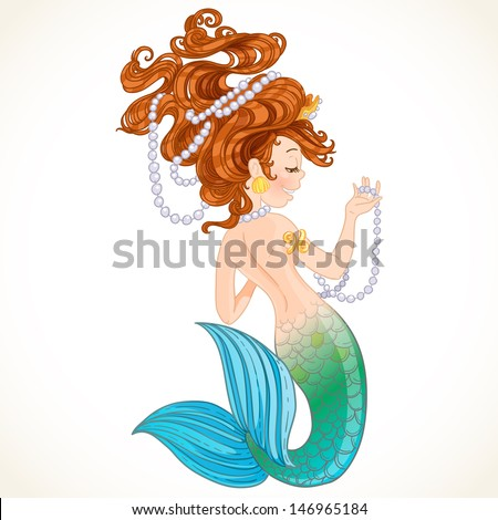 Cute mermaid with pearl - stock vector