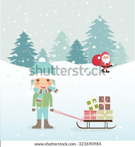 Cute Merry Christmas card. Vector illustration - stock vector