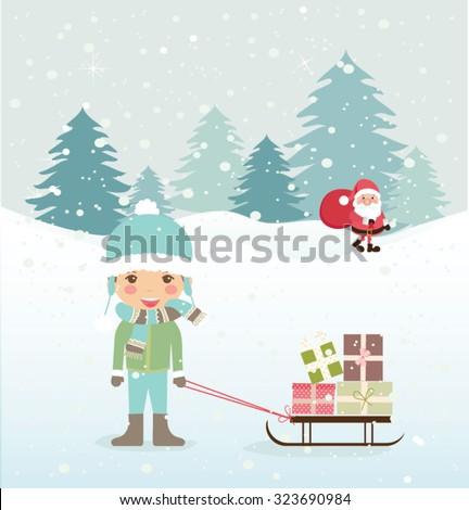 Cute Merry Christmas card. Vector illustration - stock vector