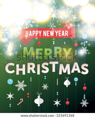 Cute Merry Christmas lettering card. Happy New Year. Vector illustration  - stock vector