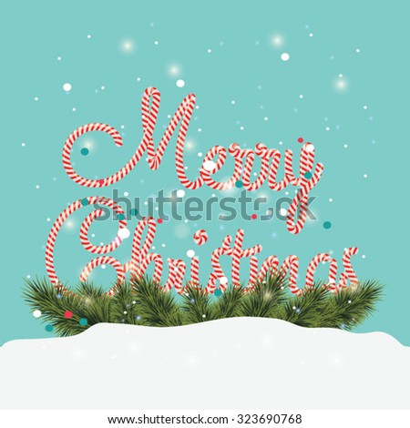 Cute Merry Christmas lettering card. Vector illustration, blue background - stock vector