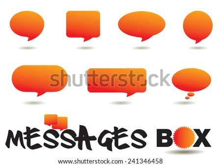 Cute messages box orange color. - stock vector
