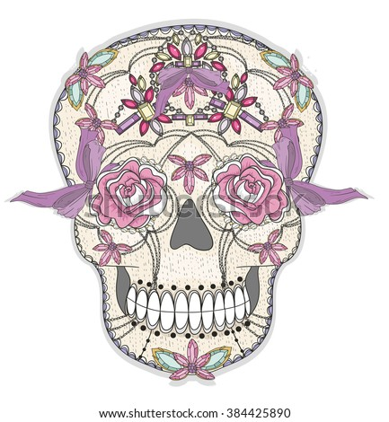 Cute mexican skull. Colorful skull with flower, gem, hearts and jewel pattern. Sugar skull.