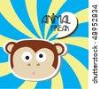 cute monkey card 5 - stock vector