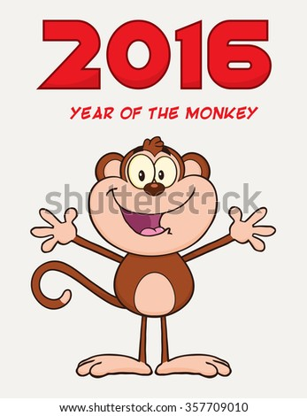 Cute Monkey Cartoon Character With Open Arms. Vector Illustration New Year Greeting Card - stock vector