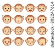 Cute monkey emotions. Emoji set. 16 emotions in the flat icon set. - stock photo