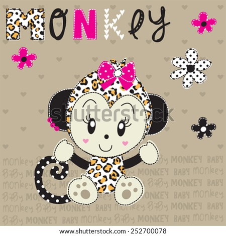 cute monkey girl with flowers vector illustration - stock vector