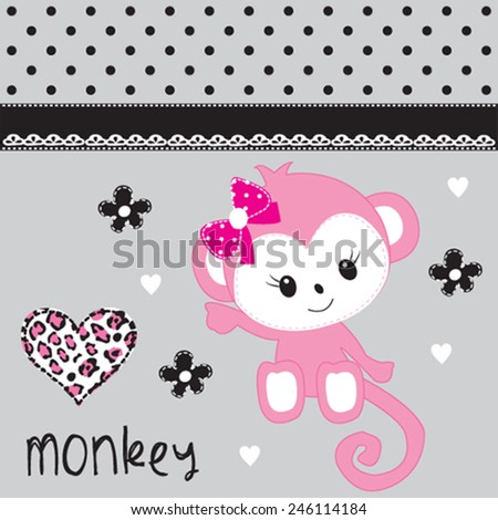 cute monkey girl with heart vector illustration - stock vector