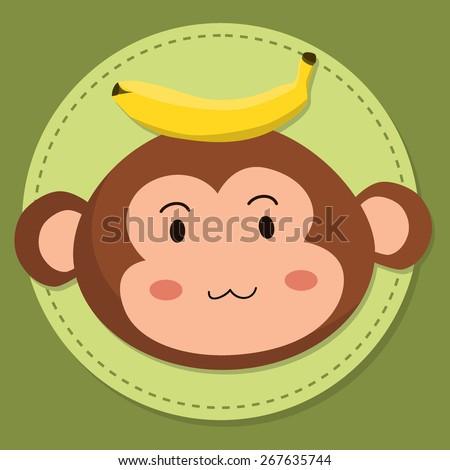 Cute Monkey Head Cartoon. Editable vector illustration of a cute cartoon monkey head with banana in green background. - stock vector
