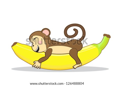 Cute monkey holding a banana - stock vector