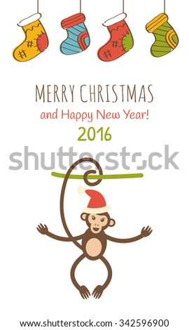 Cute monkey in Santa Claus hat. Vector illustration. Happy New Year 2016 and Merry Christmas greeting card series - stock vector