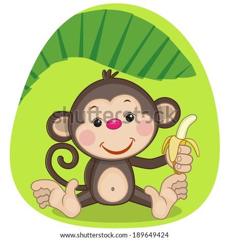 Cute Monkey is holding a banana - stock vector