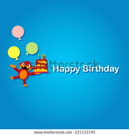 Cute Monkey Says Happy Birthday - stock vector