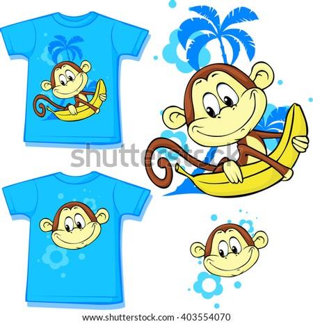 cute monkey with banana printed on shirt - vector illustration - stock vector