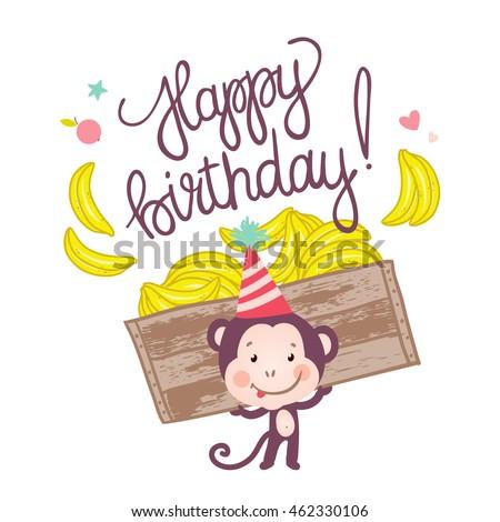 Cute Monkey Bananas Happy Birthday Card Stock Vector Royalty Free