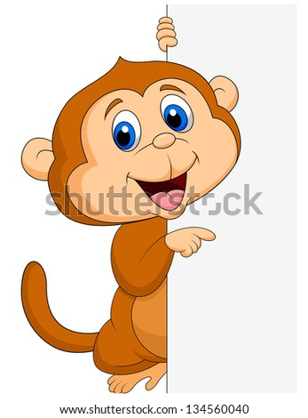 Cute monkey with blank sign - stock vector