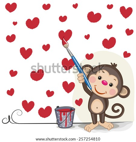 Cute Monkey with brush is drawing hearts  - stock vector