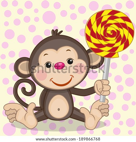 Cute Monkey with candy on a dot background  - stock vector