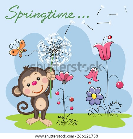 Cute Monkey with dandelion on a meadow  - stock vector