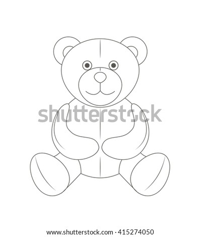 Cute monochrome outline teddy bear, soft toy, vector illustration and art - stock vector