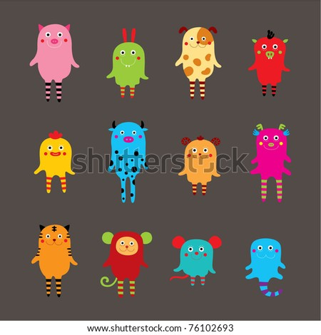 cute monster animal collection - stock vector