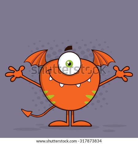 Cute Monster Cartoon Character With Welcoming Open Arms. Vector Illustration With Background - stock vector