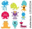 Cute Monster Collection Set - stock vector
