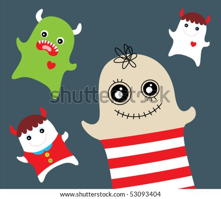 cute monster doodle - stock vector